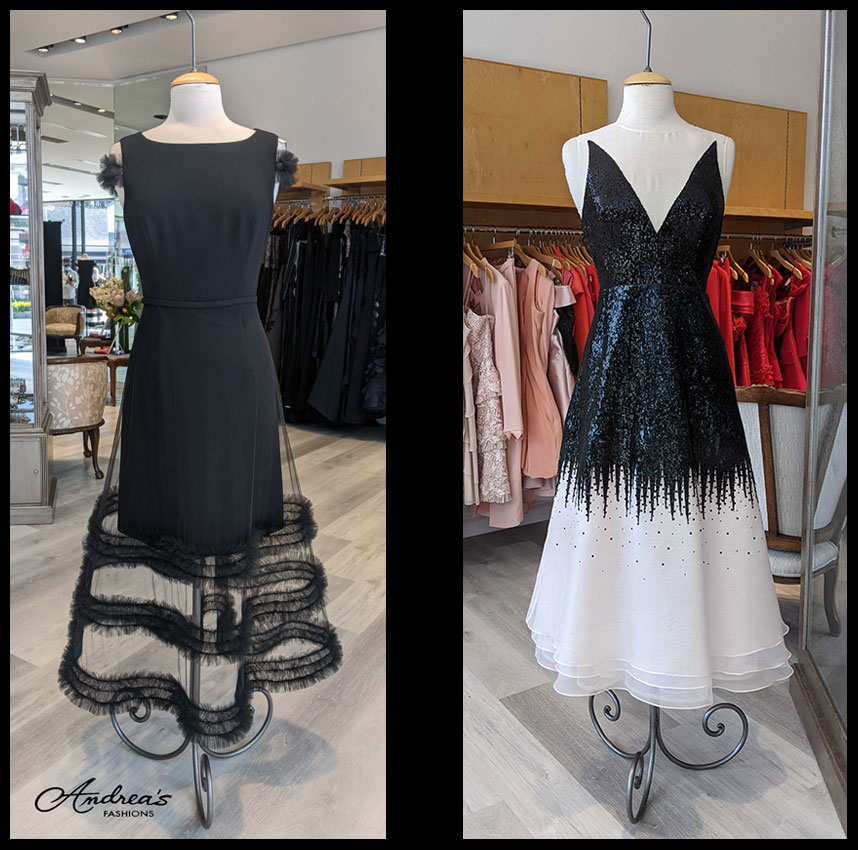 Contrasting dresses in the store